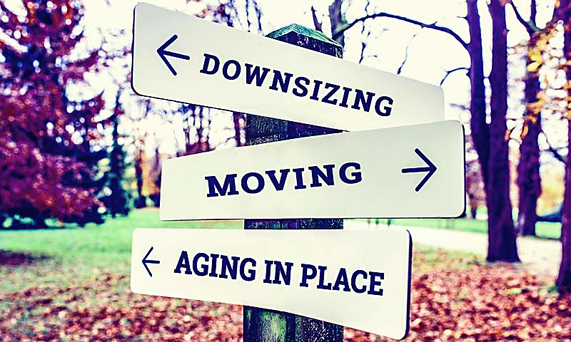Downsizing, Senior Move Manager, Aging in Place sign.